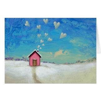 暖かくとどまる掘っ建て小屋の小屋のおもしろいのロマンチックな芸術を愛して下さい カード