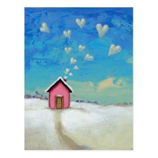 暖かくとどまる掘っ建て小屋の小屋のおもしろいのロマンチックな芸術を愛して下さい ポストカード