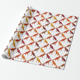 暖かく赤いティラノサウルス・レックスのレックスの恐竜の包装紙 ラッピングペーパー