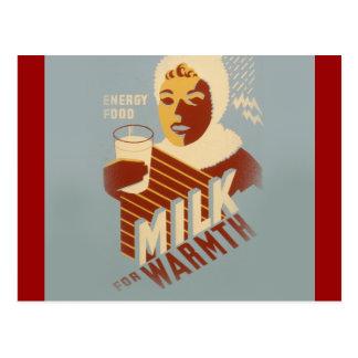 暖かさのためのミルク ポストカード