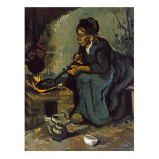 暖炉による小作農の女性の料理 ポストカード