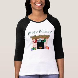 暖炉のストッキングの休日のTシャツ Tシャツ