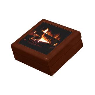 暖炉の暖かい冬場面写真撮影 ギフトボックス