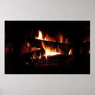 暖炉の暖かい冬場面写真撮影 ポスター