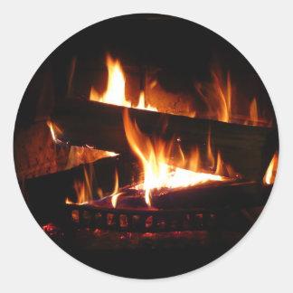 暖炉の暖かい冬場面写真撮影 ラウンドシール