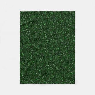 暗いエメラルドグリーンのグリッター フリースブランケット