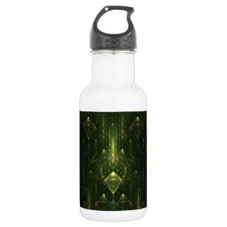 暗いエメラルドグリーンの顔。 フラクタルArt. ウォーターボトル