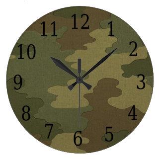 暗いカムフラージュの円形の時計 ラージ壁時計