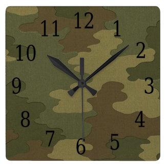 暗いカムフラージュの正方形の時計 スクエア壁時計