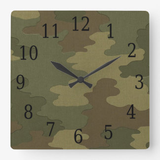 暗いカムフラージュの正方形の時計 時計