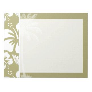 暗いカーキ色の熱帯ハイビスカス; やし ノートパッド