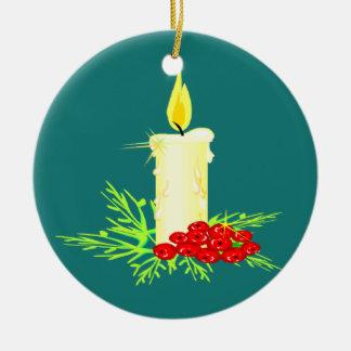 暗いクリスマスのオーナメントの蝋燭 セラミックオーナメント