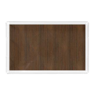 暗いクルミのブラウンのタケ木製の穀物の一見 アクリルトレー