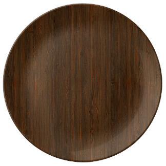 暗いクルミのブラウンのタケ木製の穀物の一見 磁器プレート