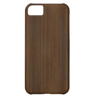 暗いクルミのブラウンのタケ木製の穀物の一見 iPhone5Cケース