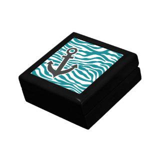 暗いターコイズのシマウマは縞で飾ります; いかり ギフトボックス