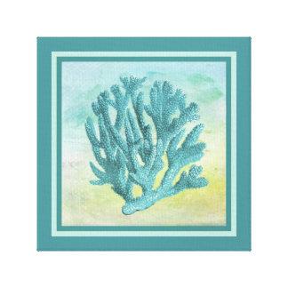 暗いターコイズの珊瑚の枝 キャンバスプリント
