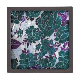 暗いターコイズの紫色のバラTexure ギフトボックス