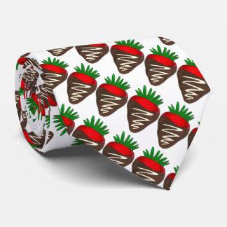 暗いチョコレートいちごのバレンタインデーのグルメ ネクタイ