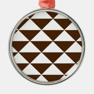 暗いチョコレートおよび白い三角形 メタルオーナメント