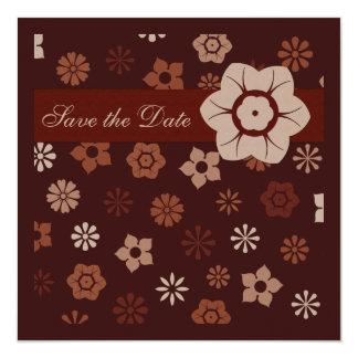 暗いチョコレートカラフルの花の招待状 カード