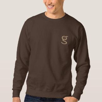 暗いチョコレートスエットシャツwのタンによって刺繍されるロゴ 刺繍入りスウェットシャツ
