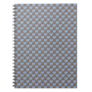 暗いチョコレート色の青いハート ノートブック