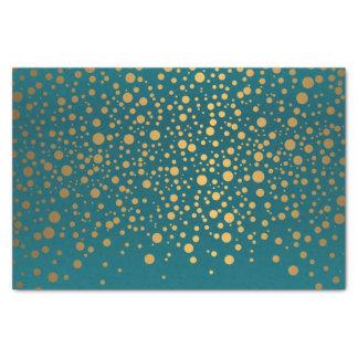 暗いティール(緑がかった色)および金属金ゴールドの紙吹雪 薄葉紙