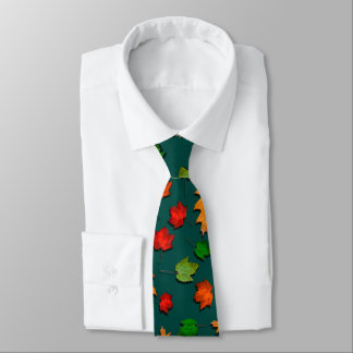 暗いティール(緑がかった色)の紅葉季節的なメンズタイ ネクタイ
