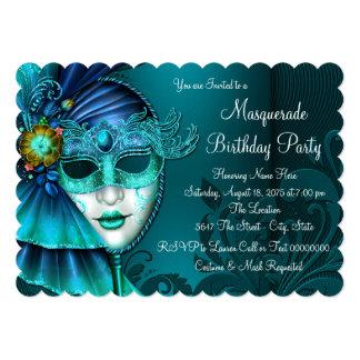 暗いティール(緑がかった色)の青い仮面舞踏会のパーティ カード