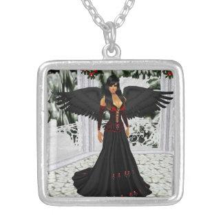 暗いネックレスの天使 シルバープレートネックレス