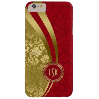 暗いバーガンディ及び金ゴールドの花のダマスク織2 BARELY THERE iPhone 6 PLUS ケース