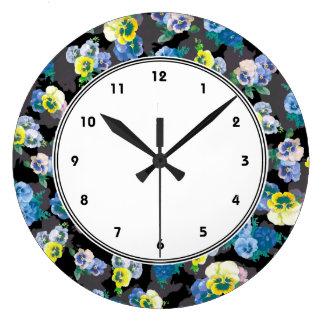 暗いパンジーのエレガントな花のプリント ラージ壁時計