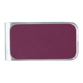 暗いパンジーの紫色(無地)の~ シルバー マネークリップ