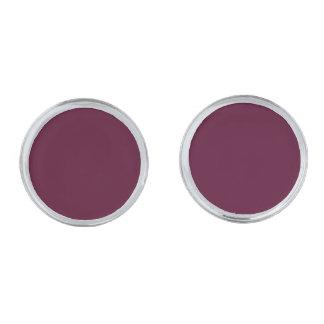 暗いパンジーの紫色(無地)の~ 銀色 カフリンク