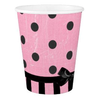 暗いピンクおよび黒い水玉模様のストライプのな紙コップ 紙コップ