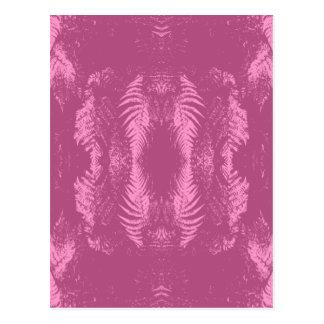 暗いピンクのシダパターン ポストカード