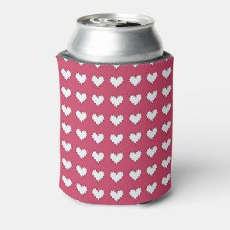 暗いピンクのソーダクーラーボックスの巻き毛のハートの白 缶クーラー