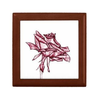 暗いピンクのバラのスケッチ ギフトボックス