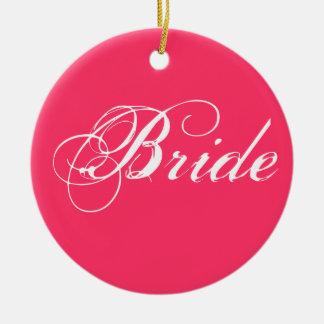 暗いピンクのファンシーな花嫁 セラミックオーナメント
