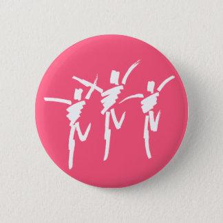 暗いピンクのブラシの打撃のダンスのトリオボタン 5.7CM 丸型バッジ