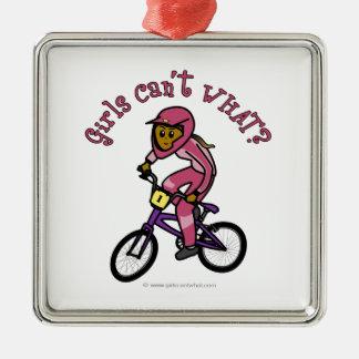 暗いピンクの女の子BMX メタルオーナメント