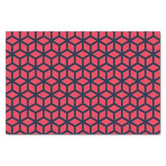暗いピンクの青く幾何学的なパターン 薄葉紙