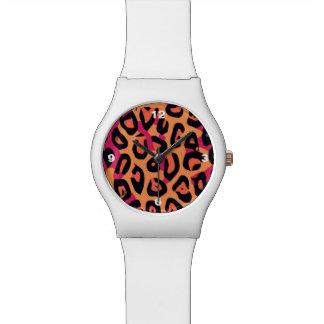 暗いピンクの黄橙色のチータの抽象芸術 腕時計