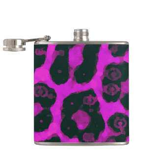 暗いピンクの黒く色彩の鮮やかなチータ フラスク