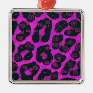 暗いピンクの黒く色彩の鮮やかなチータ メタルオーナメント