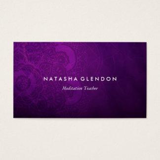 暗いプラム紫色の曼荼羅の禅の名刺 名刺