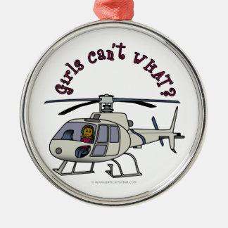 暗いヘリコプターのパイロットの女の子 メタルオーナメント