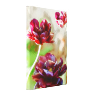 暗いボルドーのシャクヤクの花盛りのチューリップのトリオ キャンバスプリント