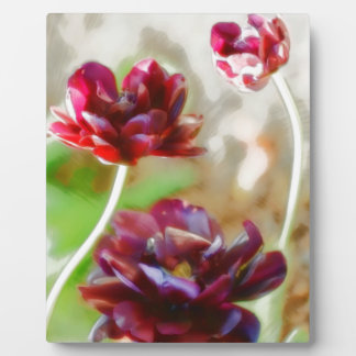 暗いボルドーのシャクヤクの花盛りのチューリップのトリオ フォトプラーク